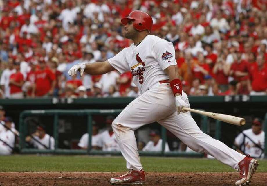 Cardinals All-Star 1B Albert Pujols was a forgotten man on Friday after manager Tony LaRussa failed to put him in the lineup. Photo: Dilip Vishwanat, Getty Images