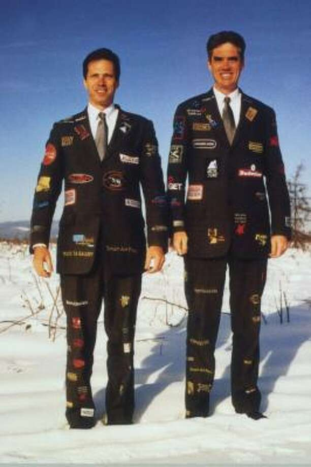 Jack Massing, left, and Michael Galbreth came up with the idea of using corporate-sponsored suits as art, such as in The Art Guys at 20 Degrees Below Zero, Fairbanks, Alaska. Photo: MUSEUM OF FINE ARTS, HOUSTON