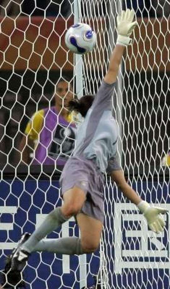 Australia keeper Melissa Barbieri fails to stop a shot by Brazil's Cristiane that produced the game-winning goal. Photo: GREG BAKER, ASSOCIATED PRESS