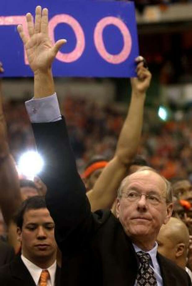 Syracuse head basketball coach Jim Boeheim isn't saying goodbye any time soon, but when he does, assistant coach Mike Hopkins will take over. Photo: KEVIN RIVOLI, ASSOCIATED PRESS