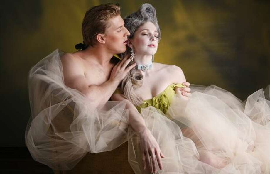Chris Coomer and Melody Herrera strike a provocative pose in a photo for Stanton Welch's Marie. Photo: PAM FRANCIS