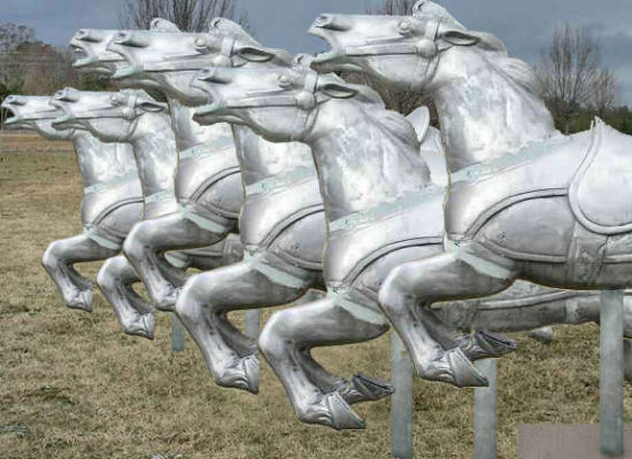 Artist Sharon Engelstein was commissioned to create the permanent civic art enhancement at the building entryway of the Mounted Police/Animal Services Facility at 5005 Little York Road. Photo: Houston Arts Alliance
