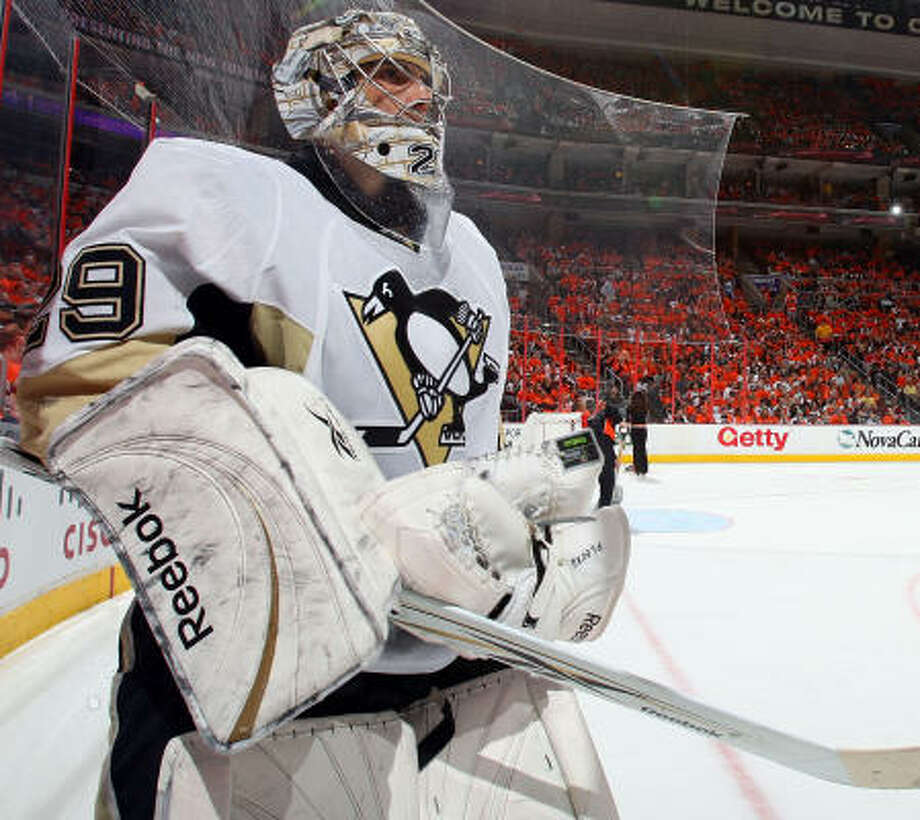 Marc-Andre Fleury made 45 saves to help Pittsburgh grab a 3-1 lead in the Eastern Conference first-round playoff series with Monday's 3-1 victory over the Philadelphia Flyers. Photo: Jim McIsaac, Getty Images