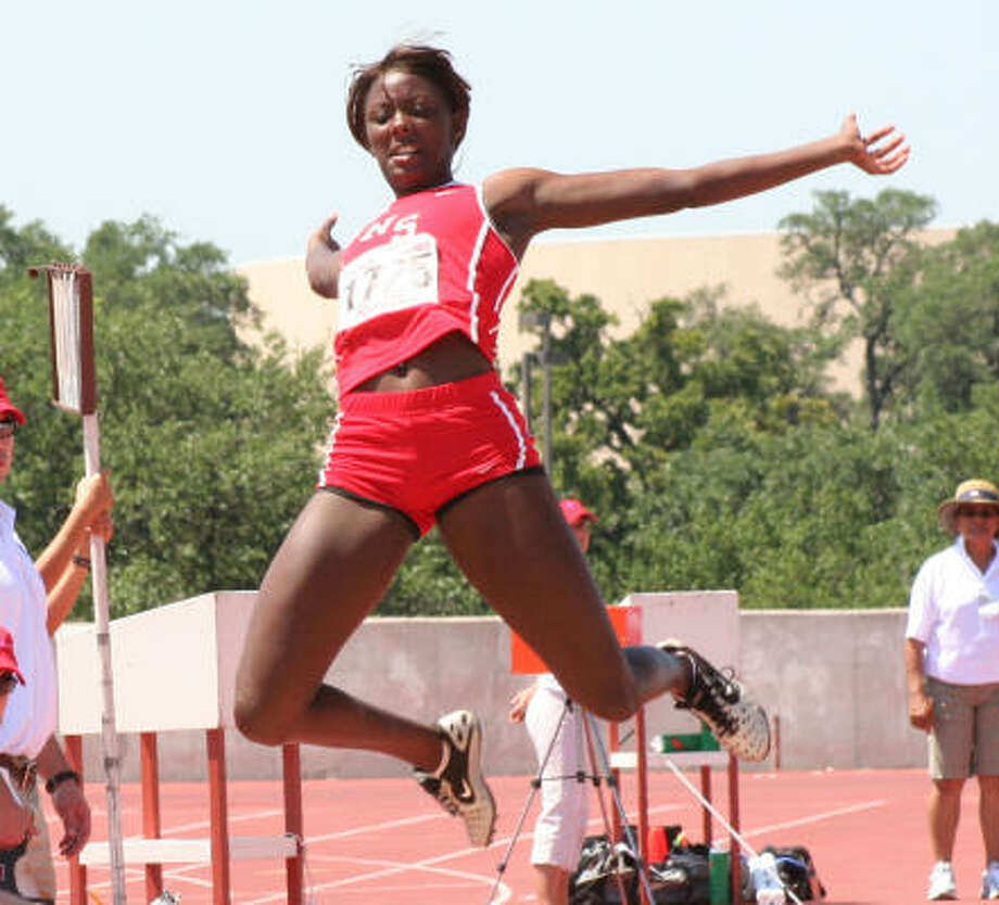 North Shore's Whitney Johnson won her second Class 5A long-jump title Saturday with a leap of 19 feet, 91/4 inches. Photo: Gerald James, For The Chronicle