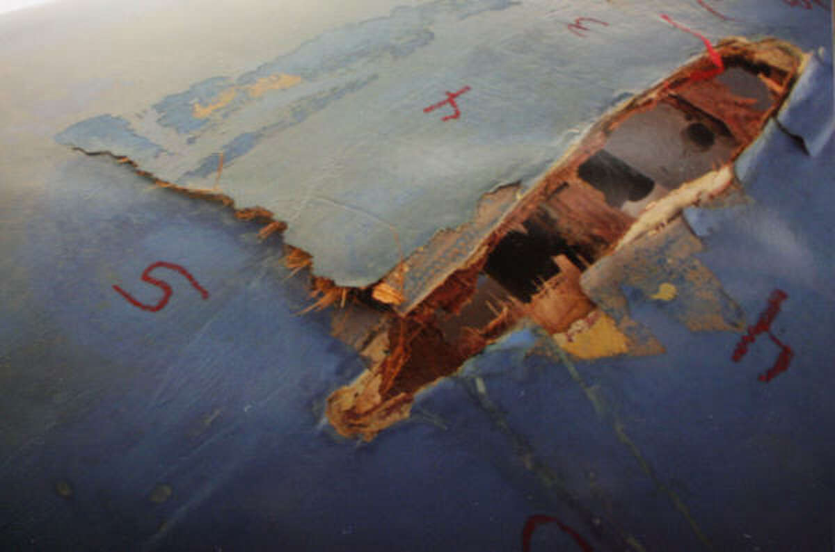 A gaping hole was left in the hull of the Cynthia Woods after the keel broke off in June during a race in the Gulf of Mexico.