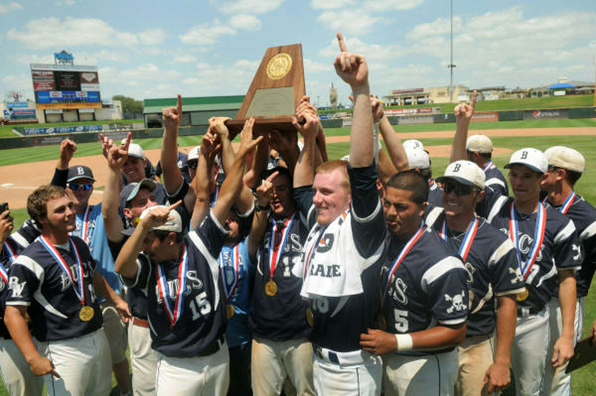 June 11: Brazoswood 10, Lubbock Coronado 3 The Brazoswood Buccaneers, including winning pitcher Bobby Franklin, with towel, hoist their Class 5A state baseball championship trophy after defeating Lubbock Coronado on Saturday at Dell Diamond in Round Rock.