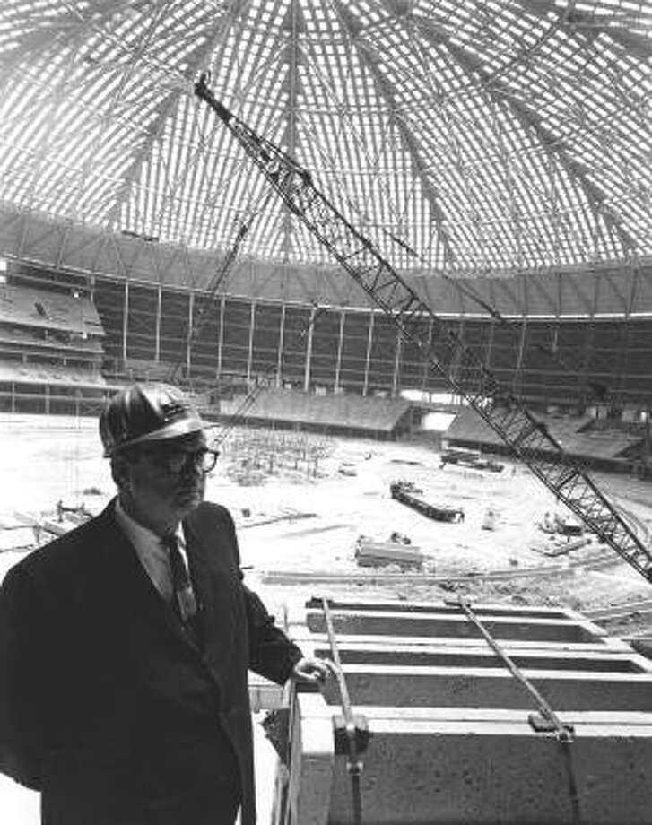 Roy Hofheinz in the Astrodome during construction in 1964. Photo: DAN HARDY, HOUSTON CHRONICLE