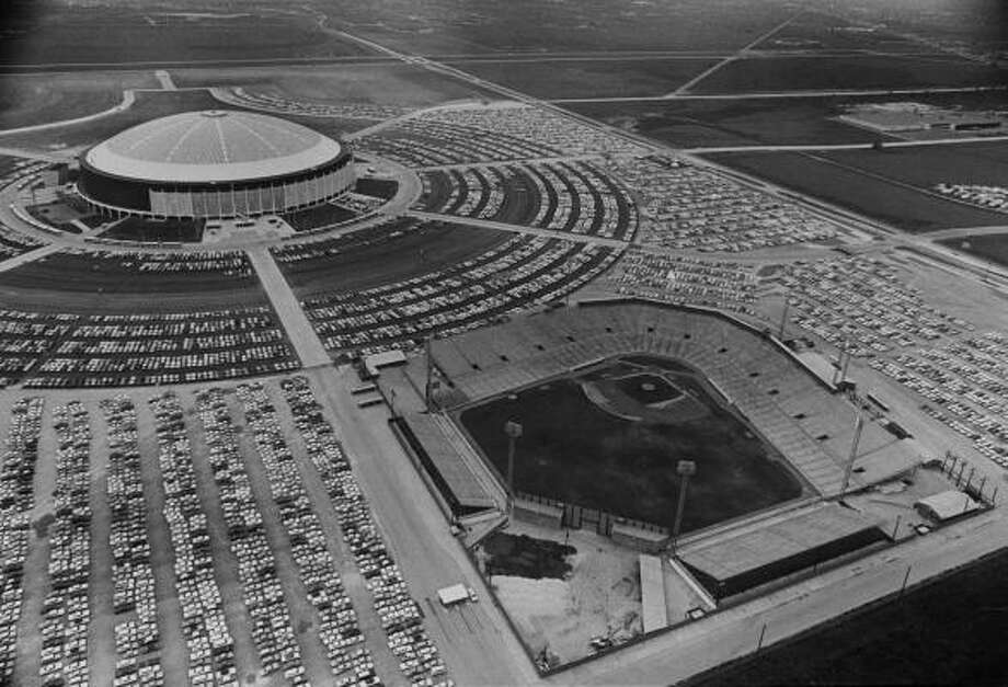 The Astrodome and Colt Stadium in Houston in 1965. Photo: Richard Pipes, HOUSTON CHRONICLE