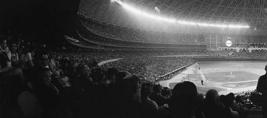 Opening night of the Astrodome in 1965. Photo: Geoff Winningham, Courtesy Geoff Winningham