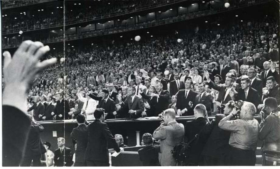 Twenty two astronauts helped the Houston Astros launch the 1965 National League baseball season and officially open the fabulous $31.6 million Harris County Domed Stadium, the then only air-conditioned all-weather baseball park in the world. Photo: Darrell Davidson, Houston Chronicle