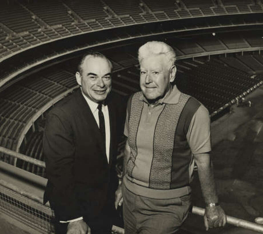 "Monty Levine with Bob Smith in 1965. Levine, who worked on a proposal for a domed stadium, was credited by some with starting ""the whole thing."" Photo: Houston Chronicle"