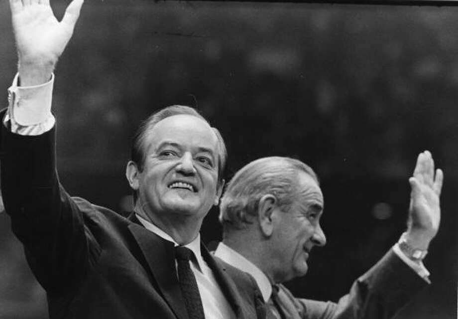 Vice president Hubert H. Humphrey, Democratic nominee for president, and President Lyndon Johnson wave to the crowd at a Democratic rally held at the Astrodome in 1968. Humphrey later lost the presidential election to Richard Nixon. Photo: Darrell Davidson, Houston Chronicle