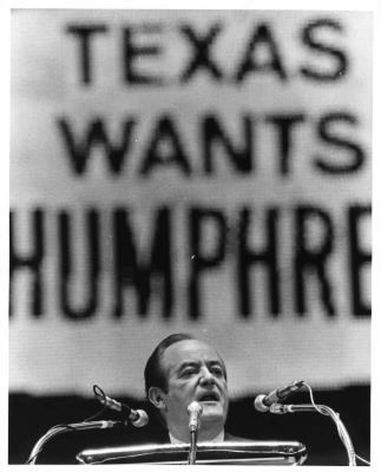 Vice president Humphrey, Democratic nominee for president, addresses the crowd at a Democratic rally held at the Astrodome in 1968. Photo: Darrel Davidson, Houston Chronicle