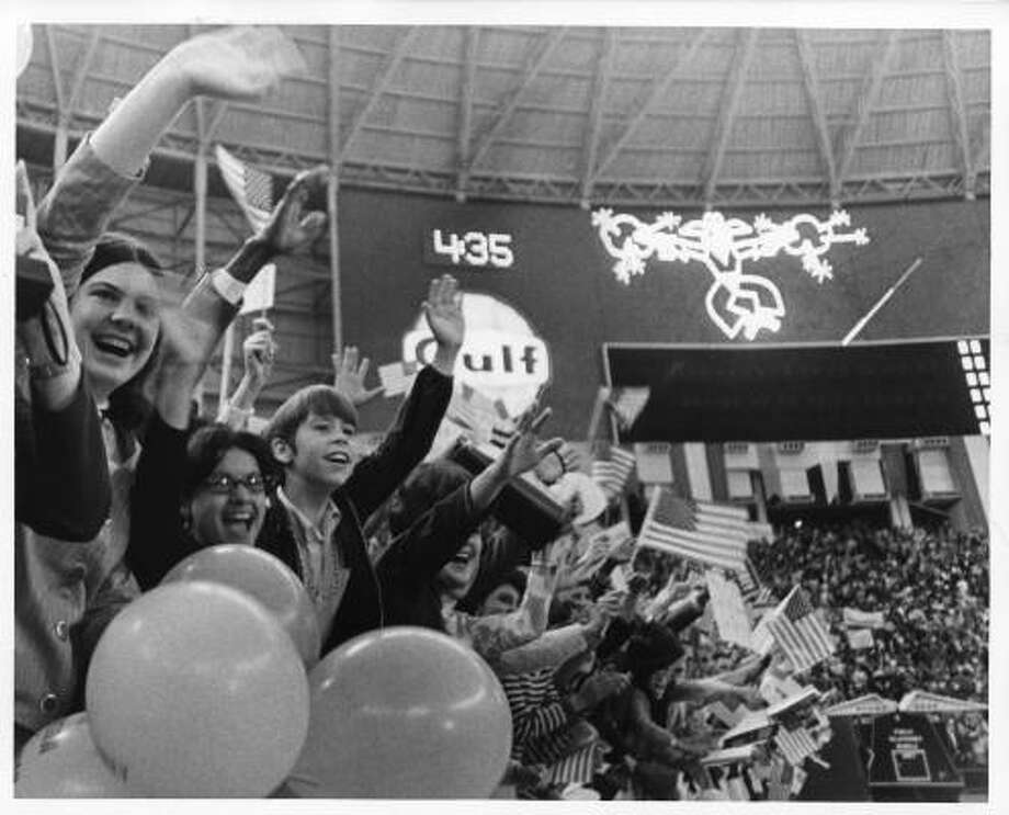 A Democrats rally at the Astrodome in 1968 for presidential nominee, Vice president Humphrey. Photo: Darrell Davidson, Houston Chronicle