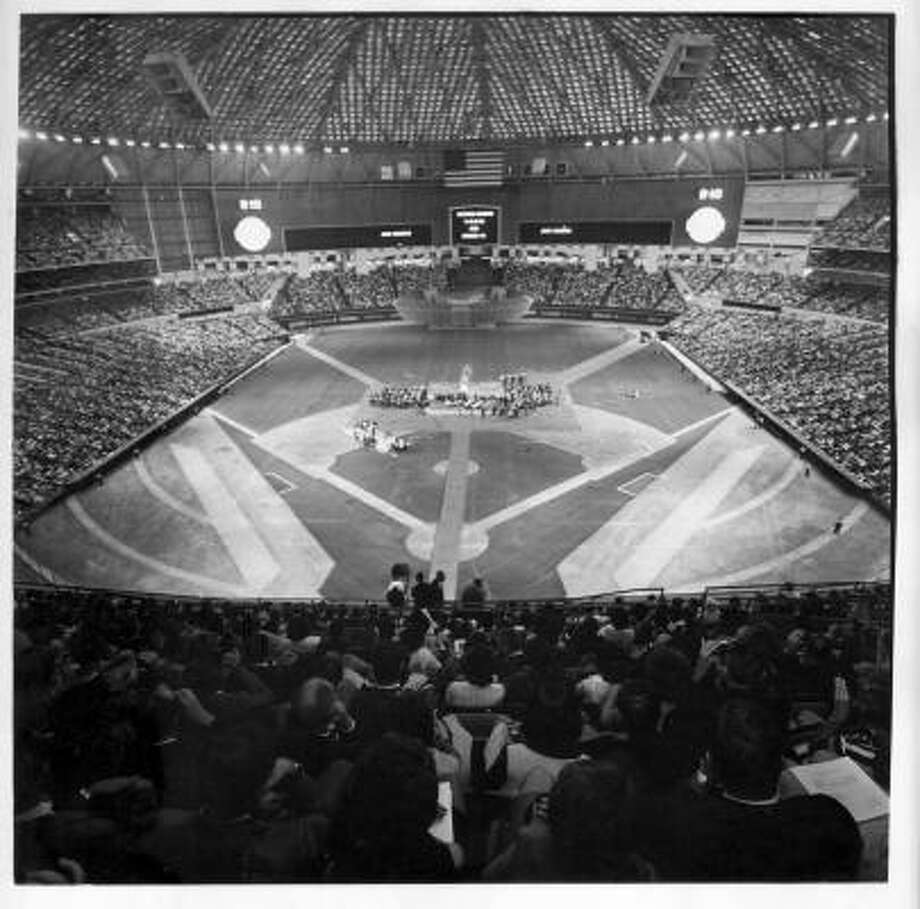 Tribute and celebration for Apollo 11 astronauts and MSC space program folks at the Astrodome, August 16, 1969. Photo: Houston Chronicle