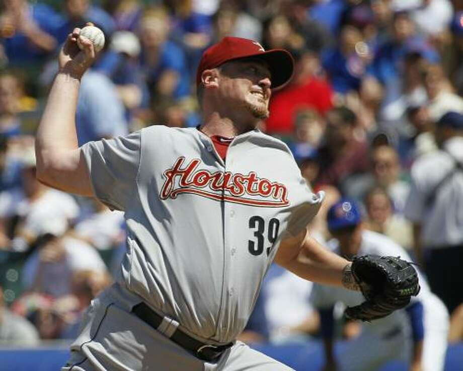 Astros starting pitcher Brett Myers delivers against the Chicago Cubs during the fifth inning. Photo: Charles Rex Arbogast, Associated Press