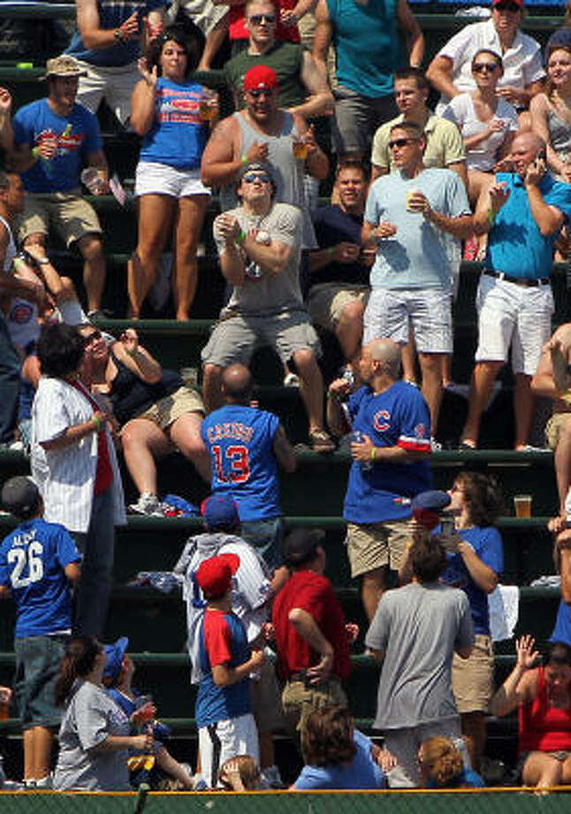 Clint Barmes sends a shot into the stands at Wrigley. Photo: Phil Velasquez, Chicago Tribune