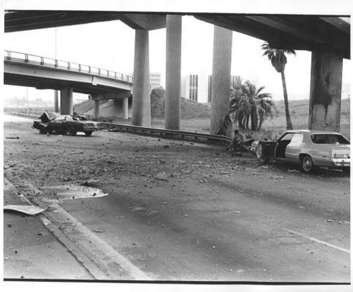 Scene along the Southwest Freeway following a deadly ammonia truck crash on May 11, 1976.