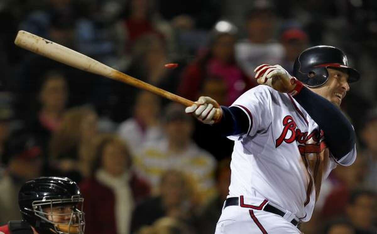 May 16: Braves 3, Astros 2 Eric Hinske (20) puts the Braves ahead of the Astros with an RBI single in the seventh inning.