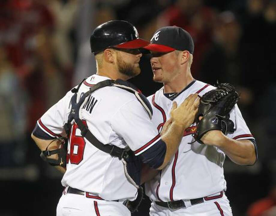 May 16: Braves 3, Astros 2    Craig Kimbrel (46) and Brian McCann celebrate the 3-2 win. Photo: John Bazemore, Associated Press