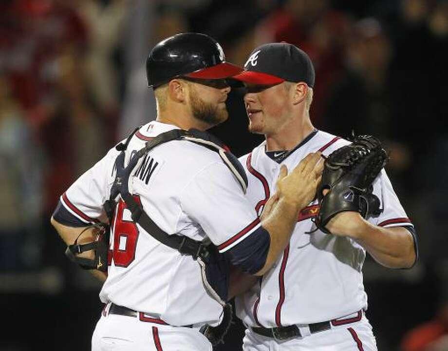 May 16: Braves 3, Astros 2  Craig Kimbrel (46) and Brian McCann celebrate the 3-2 win. Photo: John Bazemore, Associated Press