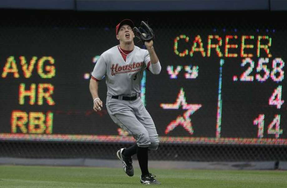 May 17: Braves 3, Astros 1 (11)  Houston Astros right fielder Hunter Pence catches a fly ball off the bat of Atlanta Braves' David Ross, in the second inning Tuesday. Photo: David Goldman, Associated Press