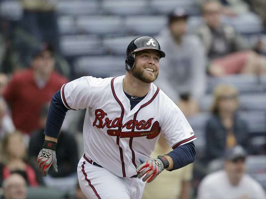 May 17: Braves 3, Astros 1 (11)    Atlanta's Brian McCann follows his walk off two-run home run on Tuesday. Photo: David Goldman, Associated Press