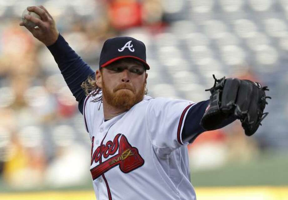 May 16: Braves 3, Astros 2    Starting pitcher Tommy Hanson (48) goes up against the Astros' batters. Photo: John Bazemore, Associated Press