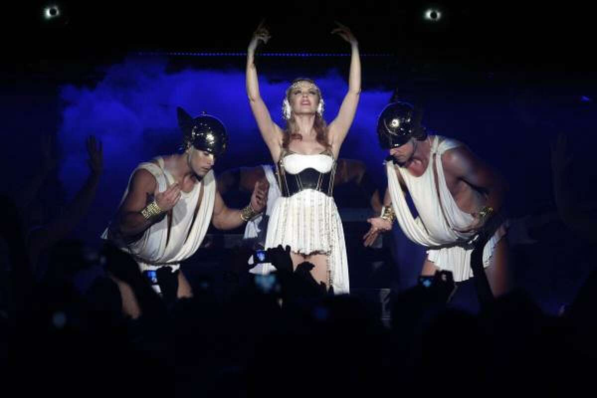 Kylie Minogue performs at Verizon Wireless Theater during her Aphrodite World Tour in Houston.