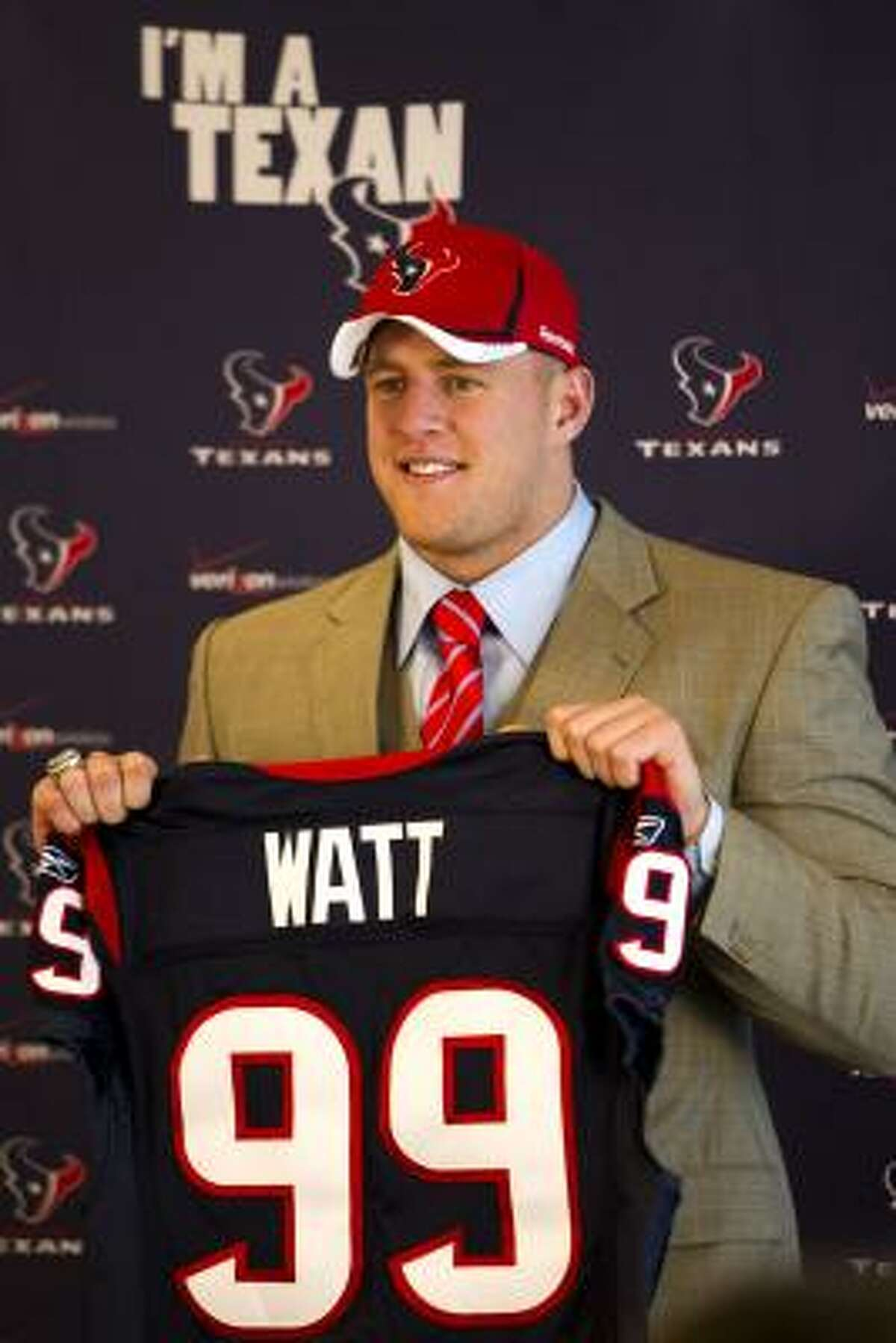 Most pressure: J.J. Watt, DE, first round, Wisconsin Not many players his size are as athletic. He's got to put that athleticism to use as a rookie because they expect him to stop the run and pressure the quarterback.