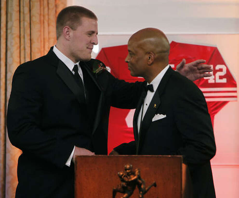 Watt was the 2010 winner of the Ronnie Lott Award, given to college football's IMPACT defensive player of the year. IMPACT stands for integrity, maturity, performance, academics, community and tenacity. Photo: Christine Cotter, ASSOCIATED PRESS
