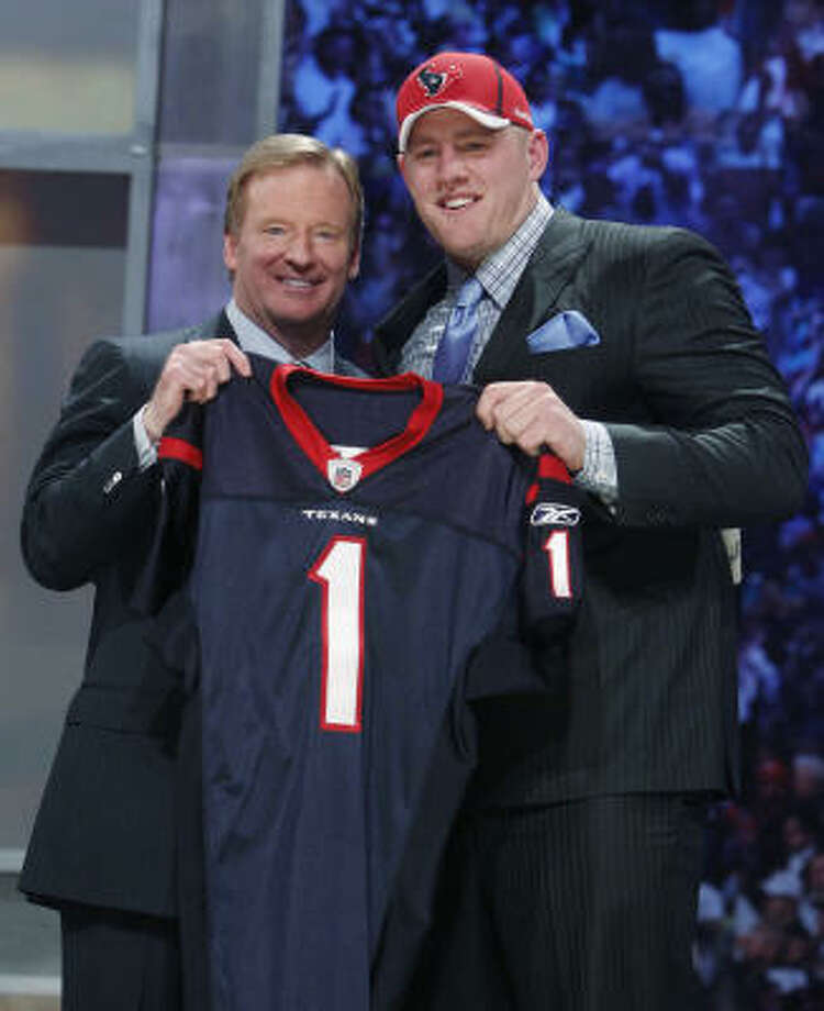 The Texans have taken a defensive player with their first overall pick in seven of the past eight drafts now with the selection of Watt. Photo: Jason DeCrow, AP