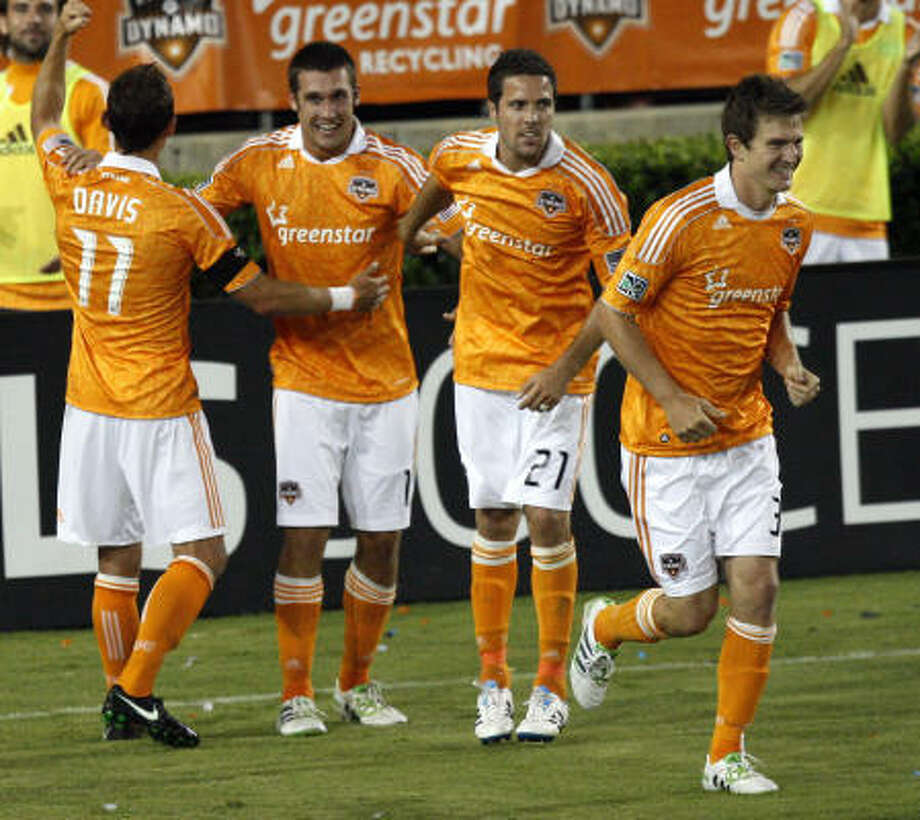 April 29: Dynamo 4, D.C. United 1Forward Will Bruin, second from left, was the man of the hour in Friday night's match against D.C. United, recording his first career hat trick to lead the Dynamo to their third win in four matches. Photo: Bob Levey, Getty Images