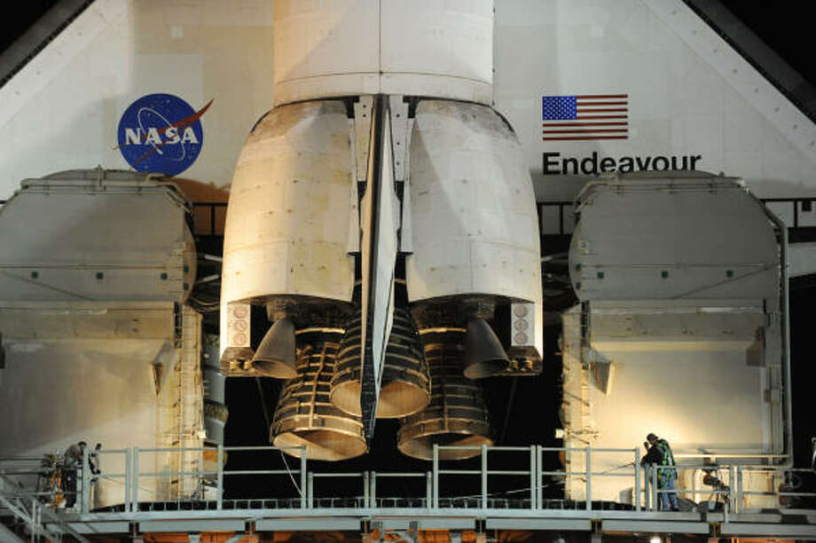 The space shuttle Endeavour is seen in the early morning hours of April 29, 2011 at Kennedy Space Center in Florida as preparations are under way for an April 29 launch of Endeabour which will be its last flight. Photo: STAN HONDA, AFP/Getty Images
