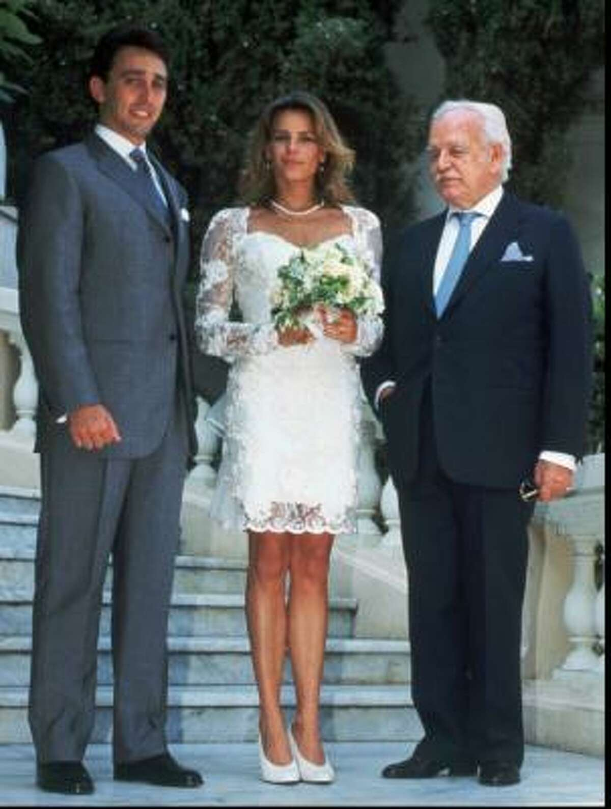 Princess Stephanie of Monaco chose to go for short and simple in her civil ceremony to Daniel Ducruet, left.