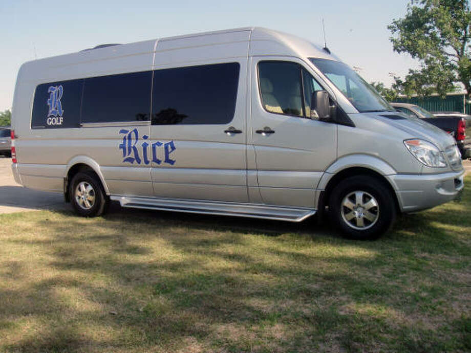 After a 16-month fundraising effort, the Rice golf team purchased a customized Mercedes-Benz cruiser to travel to tournaments. Photo: Joseph Duarte, Chronicle