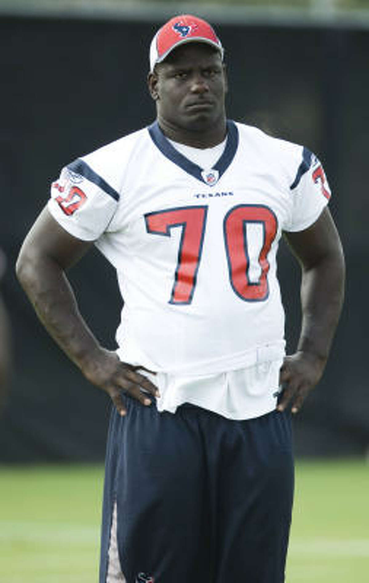 Fred Weary during his time as an offensive lineman for the Houston Texans.