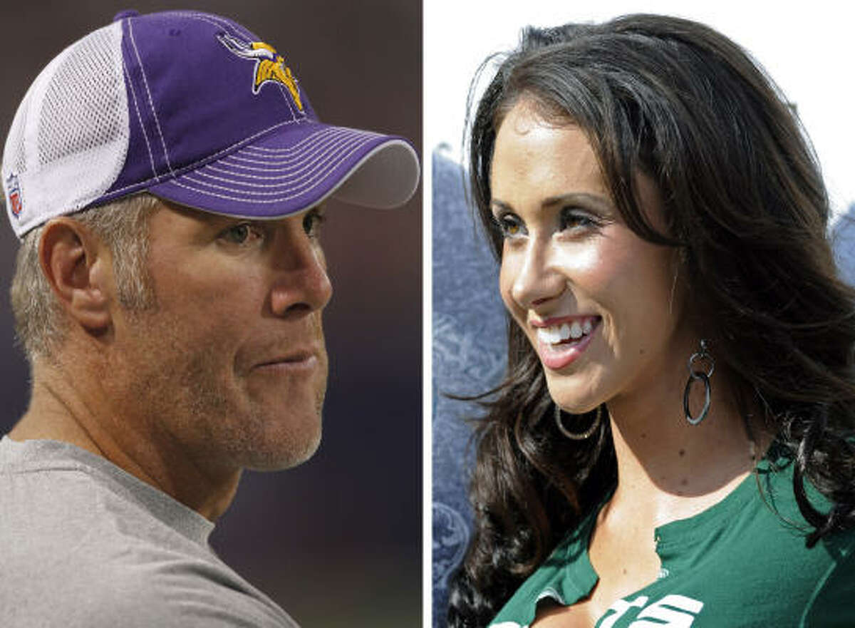 FILE - At left, in a Sept. 2, 2010, file photo, is Minnesota Vikings quarterback Brett Favre before an NFL football game against the Denver Broncos, in Minneapolis. At right, in a Sept. 14, 2008, file photo, is Jenn Sterger on the sideline before an NFL football game between the New York Jets and New England Patriots, in East Rutherford, N.J. The forme Jets game hostess who allegedly received inappropriate photos and phone messages from Brett Favre says in an interview with ABC News' George Stephanopoulos that she isn't a