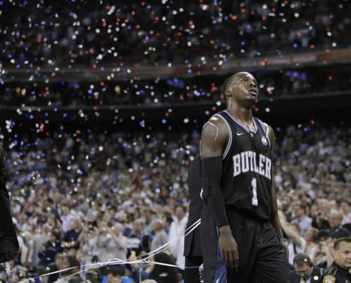 Butler guard Shelvin Mack walks off the court following the Bulldogs loss to the Huskies.