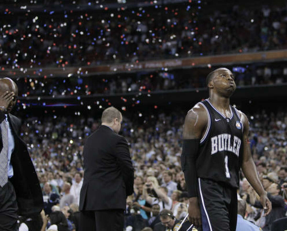 Butler guard Shelvin Mack walks off the court following the Bulldogs loss to Connecticut.