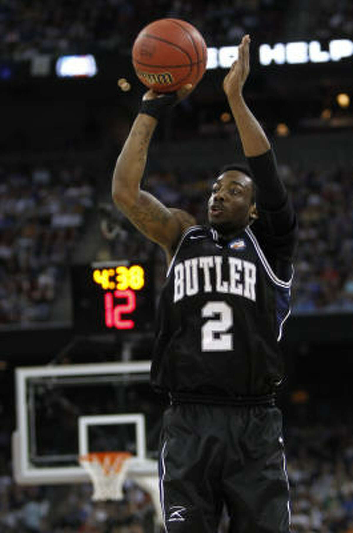 Butler guard Shawn Vanzant makes a 3-pointer in the second half.
