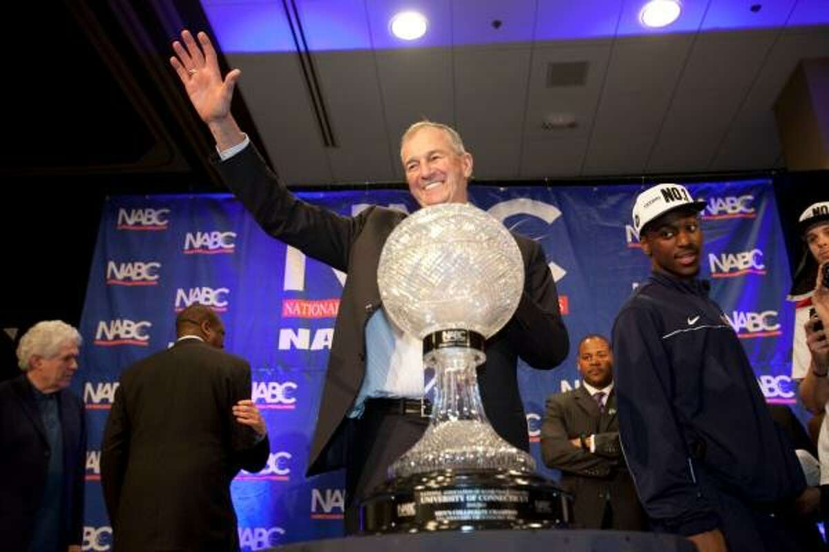 April 4: UConn 53, Butler 41 (national championship game) Connecticut coach Jim Calhoun acknowledges the crowd during the post-game celebration at the team's hotel. Calhoun won his third national championship.
