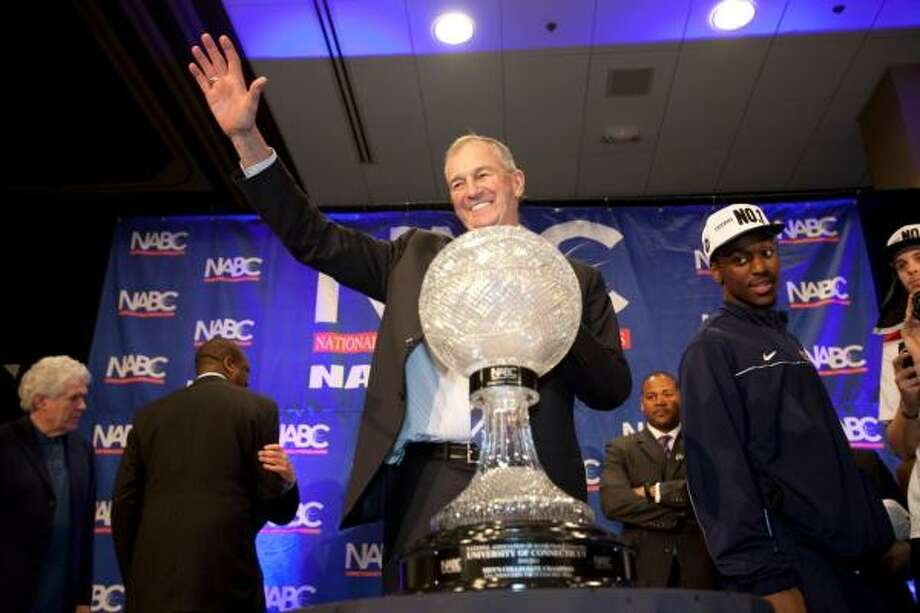April 4: UConn 53, Butler 41 (national championship game)Connecticut coach Jim Calhoun acknowledges the crowd during the post-game celebration at the team's hotel. Calhoun won his third national championship. Photo: Eric Kayne, For The Chronicle
