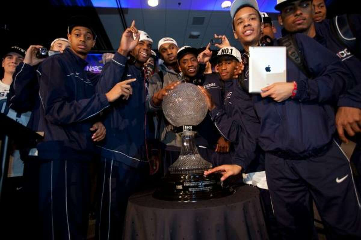 Connecticut's players and coaches returned to the team's hotel after Monday night's win over Butler to continue their celebration.