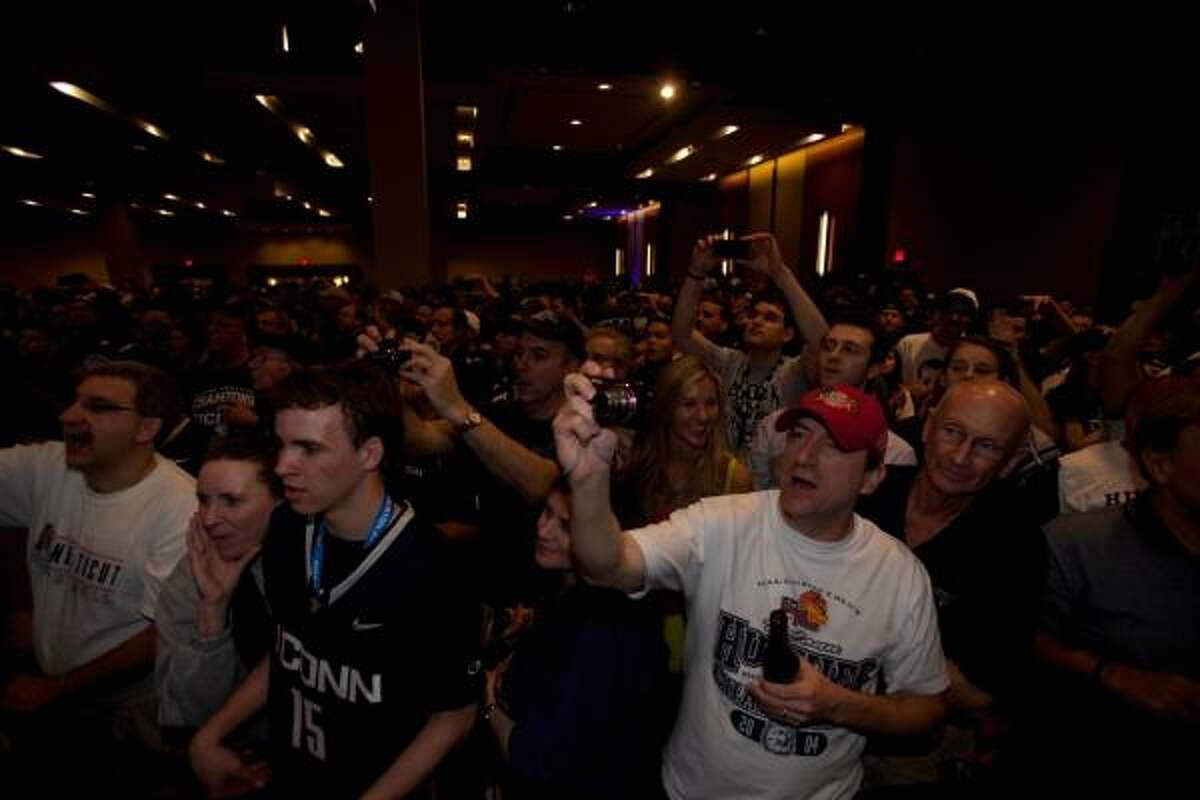Connecticut fans gathered at the team's hotel following Monday night's game for a rally to celebrate the Huskies' win over Butler.