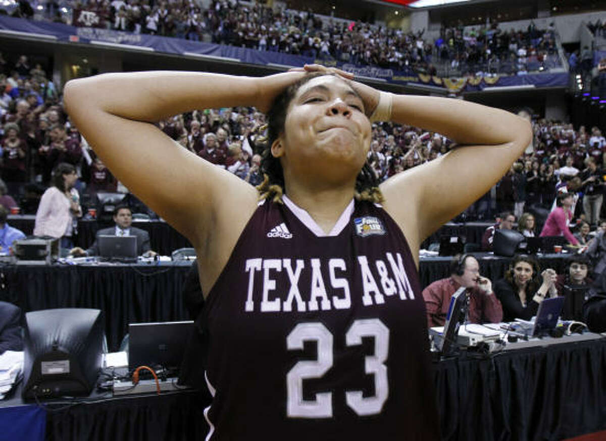 National Semifinals: Texas A&M 63, Stanford 62 Texas A&M's Danielle Adams (23) reacts after her team's 63-62 win over Stanford on Sunday.