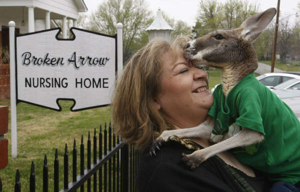 In this March 30, 2011 photo, Christie Carr gets a lick from her kangaroo, Irwin, as they leave the Broken Arrow Nursing Home in Broken Arrow, Okla. Carr suffers from depression and has found solace in Irwin, but local city officials worry that the partially paralyzed therapy pet could become a public safety risk.