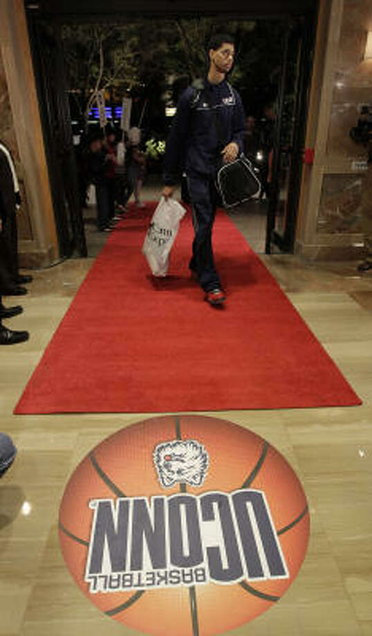 Connecticut guard/forward Jeremy Lamb walks into the lobby of the JW Marriott in the Galleria. Photo: Karen Warren, Chronicle