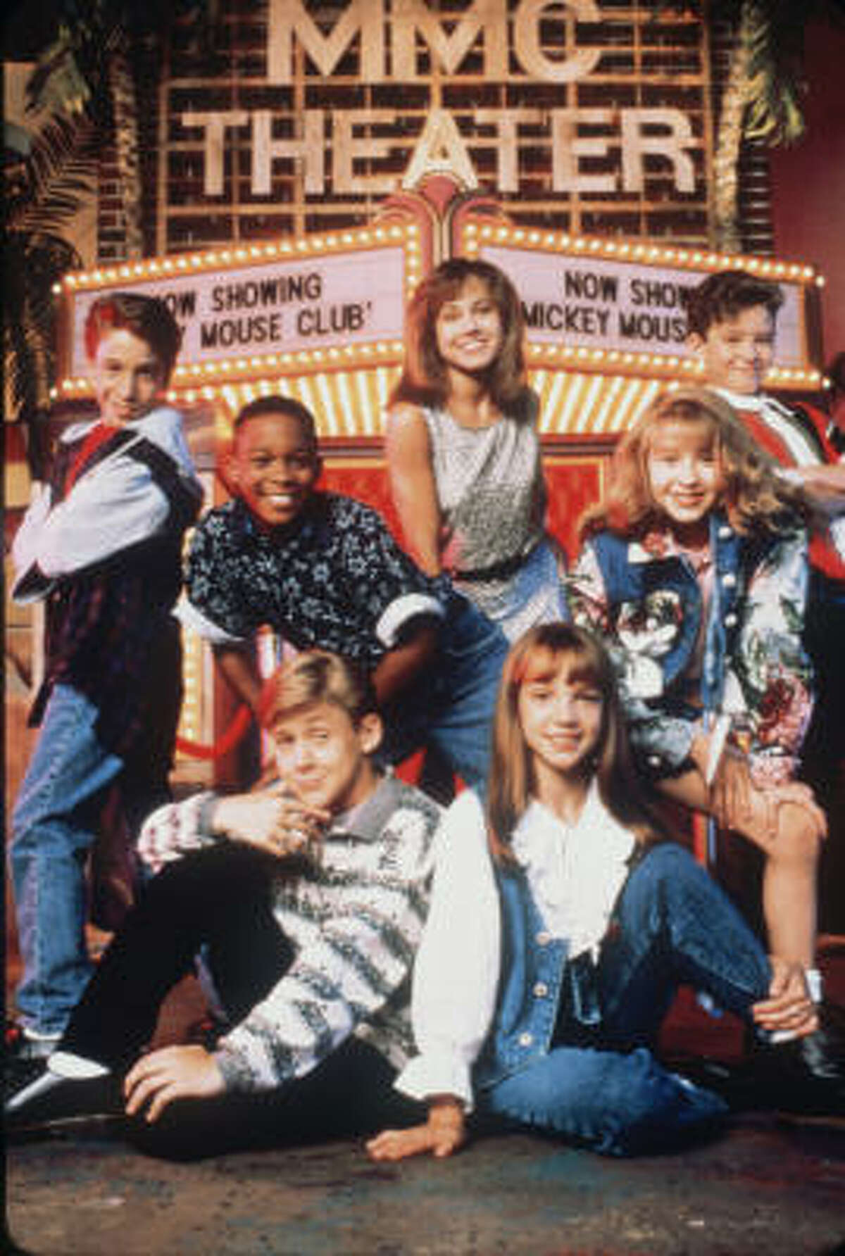 1995: Britney Spears and other members of the Mickey Mouse Club. Spears met her former sweetheart, Justin Timberlake, who was also a Mouseketeer.