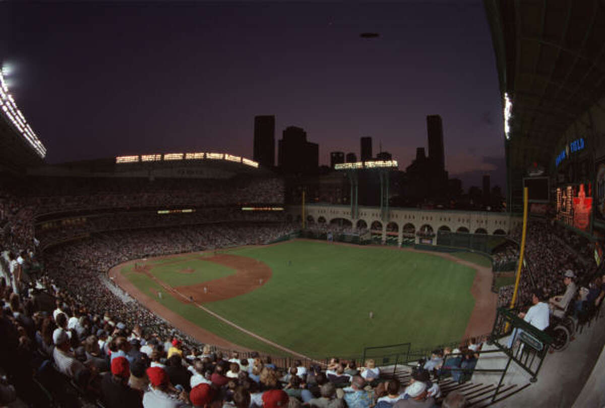 In his Astros fan blog, Chip Bailey writes here about the best moments in team history -- like when Enron Field opened (pictured). Most of us, he says, would agree that Craig Biggio or Jeff Bagwell are the best players to ever wear an Astros' uniform or that Roy Oswalt is the best pitcher in the team's 50-year history. (Okay, Steve Campbell may disagree.) But this exercise will be a bit more subjective and should send you to the history books and memory lane from the past half century. What is your single, most favorite moment in Astros' history? Here are some of the contenders: